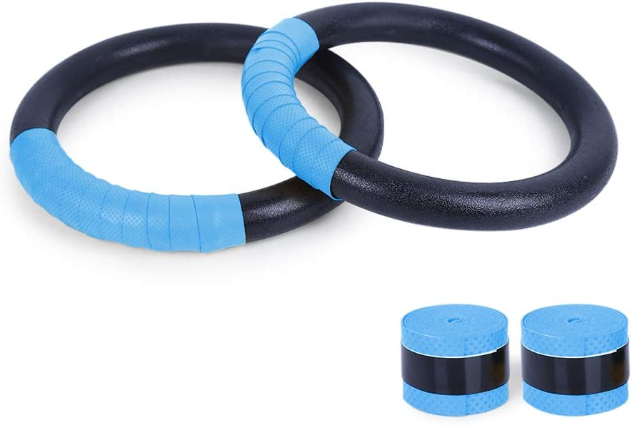 TANCHEN Gymnastic Rings with Adjustable Straps Fitness Gym Household Rings Muscle Strength Training Tools Includes 2 Non-Slip Textured Gymnastics Rings with 14.76ft Straps for Men and Girls