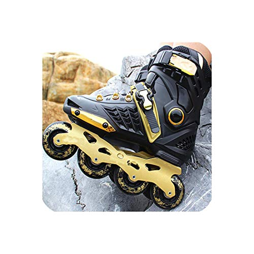 Professional Roller Inline Skate Adult Roller Skating Shoes Free Style Skating Patins Ice Hockey Skates,Black Gold,38