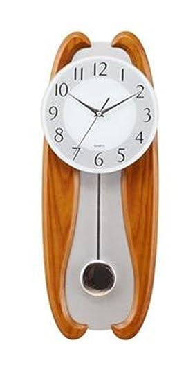 YANFEI Moderno Reloj de Pared de Madera Reloj Grande de Péndulo Pared Colgante Mudo No Ticking Silencioso Barrido Segundos Necesidades Diarias Salón ...