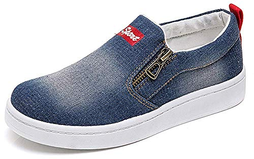 HAPPYSTORE Women Sneaker Denim Jeans Classic Low Top Round Toe Casual Shoes African Sneakers Loafers Shoes Dark Blue