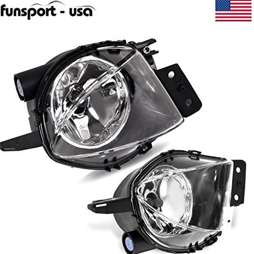 (Clear Bumper Fog Light Lamps+Bulb Pair for 06-08 BMW E90 325i 328i 330i 335i - Replaceable Fog Lights Lamps Driver and Passenger (White, 1 X Pair and 2 X H11 Bulb))