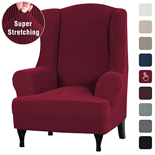 High Stretch Cover/Wing Chair Slipcover 1 Piece Wing Back Arm Chair Furniture Cover Slipcover Non Skid Sofa Cover for Living Room, Machine Washable Suede Fabric Stay in Place, Wine