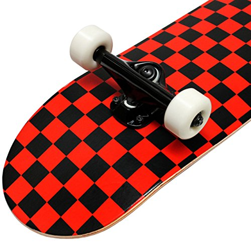 Krown Black/Red Checkered Complete Skateboard 7,75