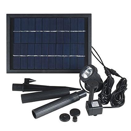eDealMax Kit Bomba de agua Grupo energía Solar Fuente Con 6led Spotlight Jardín Piscina Estanque