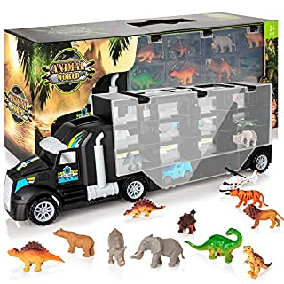 KIDWILL Dinosaur Transport Truck, Carrier Toy Car with Dinosaurs Wild Life Car Helicopter, Portable Handle Best Dinosaur Toy for Boys Girls Age 3+(Black)