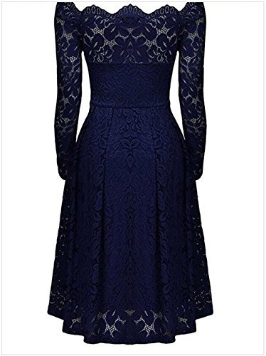 Bodas Noche Encaje con De Una Larga Vestido con para Cóctel Fiestas De Volantes Azul Línea oscuro Mujer Fiesta De Vestir Manga Lace Cortos Vestidos Vintage Tradicionales Elegantes gnIqCv0xw