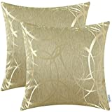 pack of 2 calitime cushion covers throw pillow cases shells both sides modern circles rings 18 x 18 inches gold - Gold Decorative Pillows
