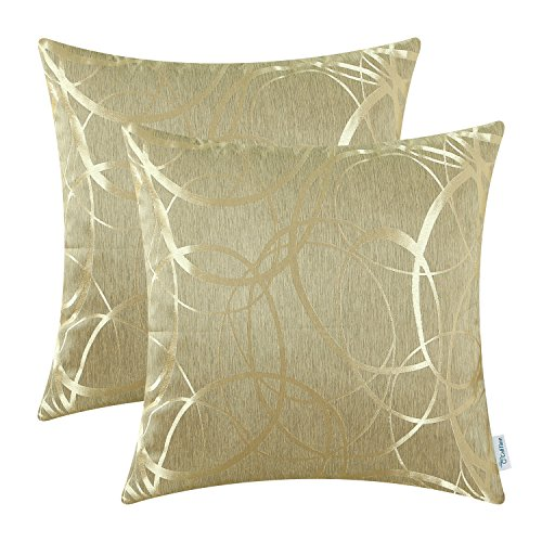 - CaliTime Pack of 2 Cushion Covers Throw Pillow Cases Shells for Couch Sofa Home Decor Modern Shining & Dull Contrast Circles Rings Geometric 18 X 18 Inches Gold