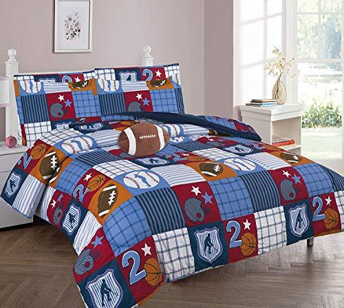 DiamondHome Boys Bedroom Decor Patchwork Sports Design (Full Comforter 8pc Set)