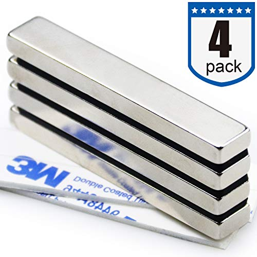Four Piece DIYMAG Super Strong Rectangular Block Neodymium Magnets, DIY, Building, Scientific, Craft, and Office NdFeB Permanent Neodymium Magnets - 60 x 10 x 5 mm