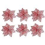 Awtlife-12Pcs-Glitter-Christmas-Flowers-Poinsettia-Xmas-Tree-Wreaths-Decor-Christmas-Tree-Ornament-Red-6-Inch