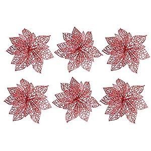 Awtlife 12Pcs Glitter Christmas Flowers Poinsettia Xmas Tree Wreaths Decor Christmas Tree Ornament Red 6 Inch 3
