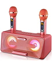 Portable Karaoke Machine for Kids & Adults - Best Birthday or Holiday Gift w/Bluetooth Speakers, 2 Wireless Microphones, LED Lights, Tablet Holder, PA System & Karaoke Song Mode! photo