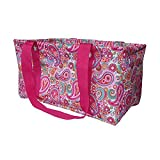 BVGIFTS Medium Utility Tote Organizing Laundry Beach Bag Pink Paisley