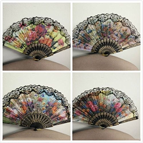 (A5B33FF Folding Spanish Flower Floral Fabric Lace Dancing Wedding Party Hand Fan)