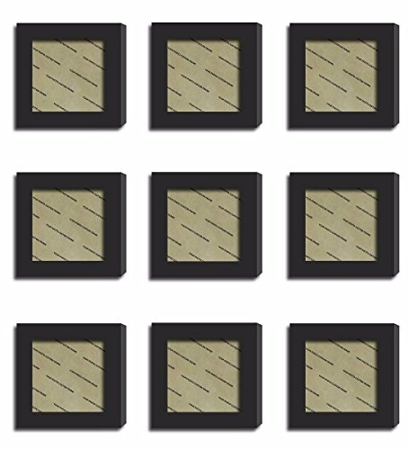 9Pcs 4x4 Real Glass Wood Frame Black Fit Family Image Pictures Photo (Window 3.6 x 3.6 inch ) Desktop Stand or Wall Hang Family Combine Square Green Forest Leaf Grass Landscape Decoration (19-27) by Smart Wall Station (Image #2)