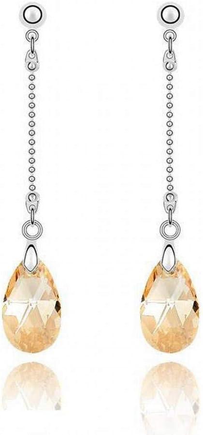 O&YQ Pendientes de Cristal Pendientes Largos de Lágrima de Ángel Pendientes Mujer, Oro