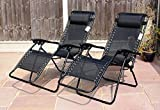 LIVIVO  Zero Gravity Reclining Garden Sun Loungers with Adjustable Padded Headrests – Relax in Comfort and Style with Cool Black Weather Resistant Textoline Fabric - Folding Lightweight Frame is Great for Travel – Perfect for Home, Garden, Patio, Decking, Holiday, Beach, and More. (Single)