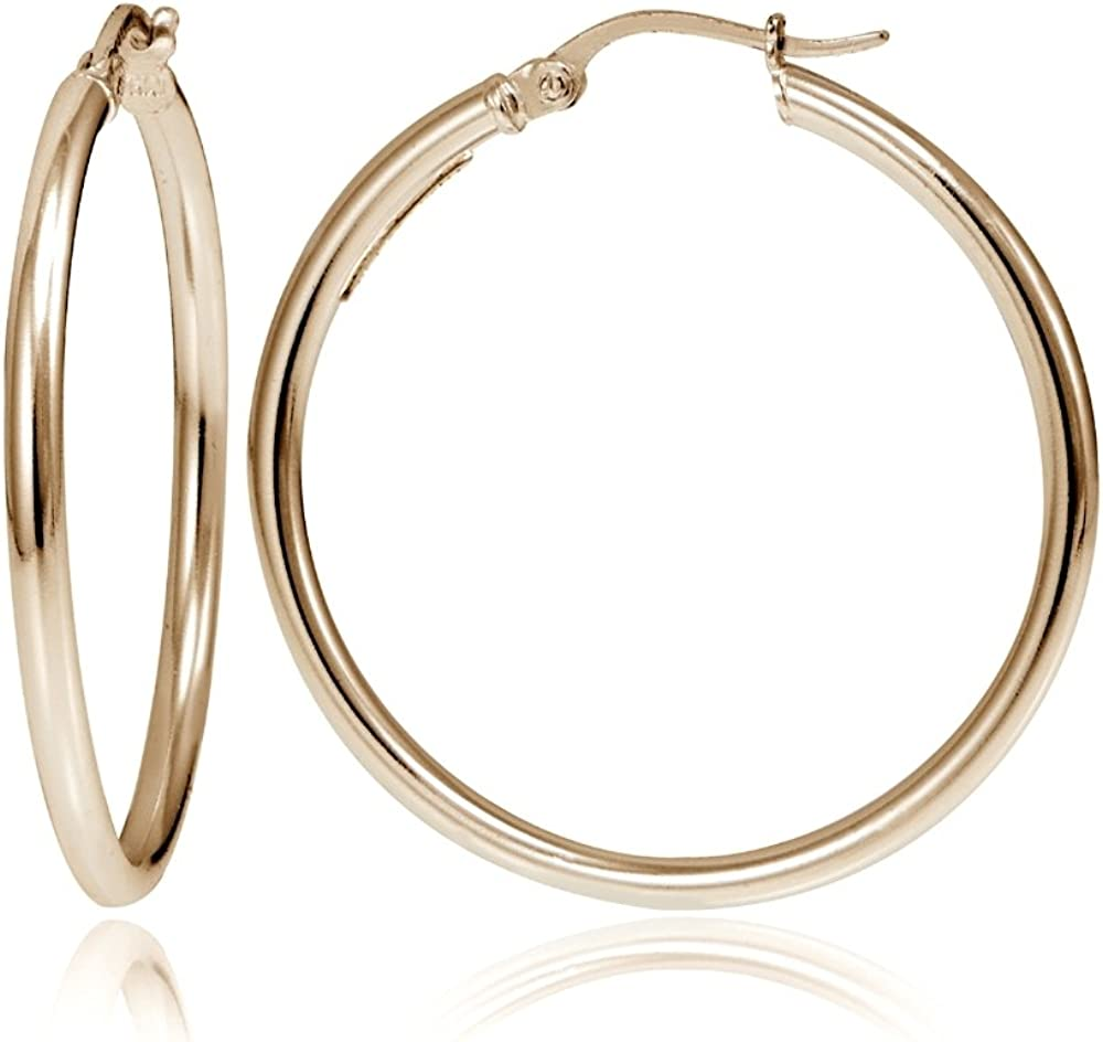 Hoops & Loops - Sterling Silver 2mm High Polished Click Top Hoop Earrings in Sizes 40mm, 45mm or 50mm | Sterling Silver, Yellow & Rose Gold Flash Plated