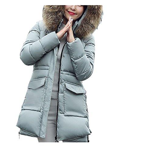 Gris Fourrure Fashion Wenyujh Epaisse Doudoune Parka Blouson Long Manteau Hiver Casual Veste Fausse Capuche Chaud Femme Mi 8CZq8war