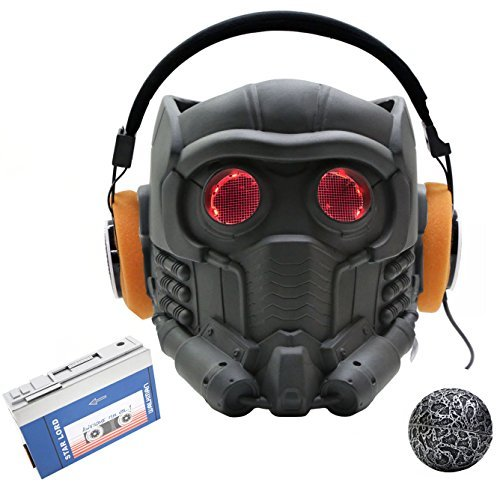 Starlord Kids Costumes Mask (XCOSER MEN'S New V6.1 Lord Helmet Red Grid Eyes 2015 DIY M)