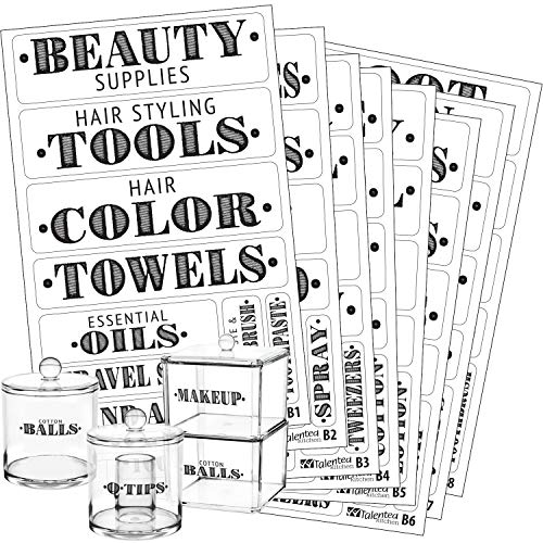 Bathroom Beauty Preprinted Labels, Organization Set. 72 Clear PVC Stickers by Talented Kitchen. 72 Water Resistant Label Set to Organize Bathroom Vanity, Cabinet & Closet (Set of 72 - Bathroom Titles) ()