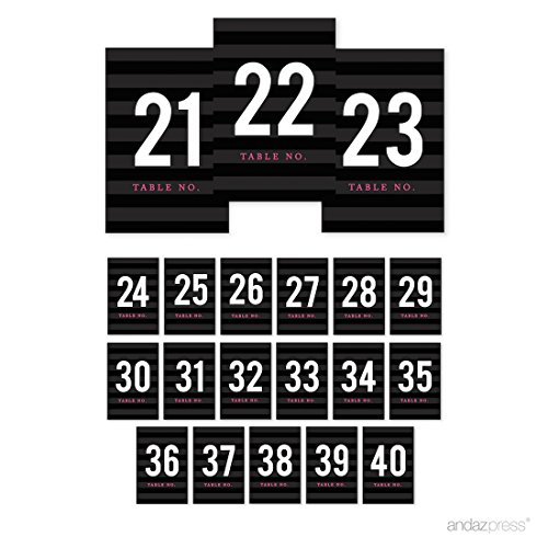 Andaz Press Modern Black and White Stripes Wedding Collection, Table Numbers 21 - 40 on Perforated Paper, Single-Sided, 4 x 6-inch, 1 Set