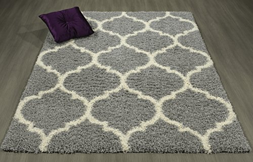Lifestyle Shaggy Collection - Contemporary Trellis Shag Rug (5'3