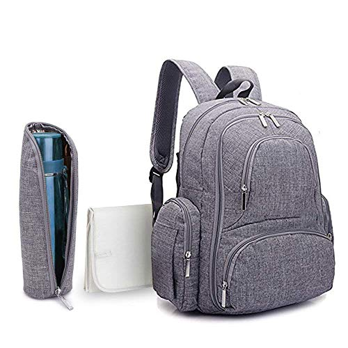 Baby Diaper Backpack - Scratch Proof Diaper Bag with Insulated Pockets, Large Size Water-Resistant Baby Bag, Multi-Functional Travel Knapsack (Grey)by Skyla Homes