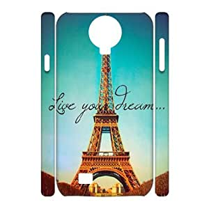3D Samsung Galaxy S4 Case Live Your Dream Paris Eiffel Tower Parallax, Samsung Galaxy S4 Case Eiffel Tower For Women Protective, [White]