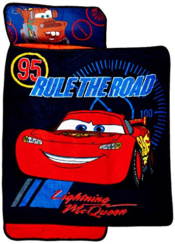 Modern Toddler Cot Bed - Disney Cars Toddler Rolled Nap Mat, Rule The Road