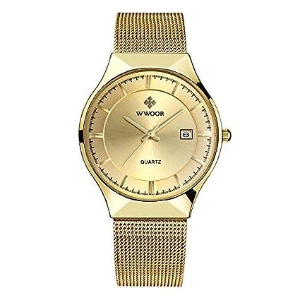 Amazon.com : Mens Business Waterproof Stainless Steel Mesh Belt Watch, Kingbeer Fashion Quartz Calendar Simple Men Watch (Gold) : Grocery & Gourmet Food