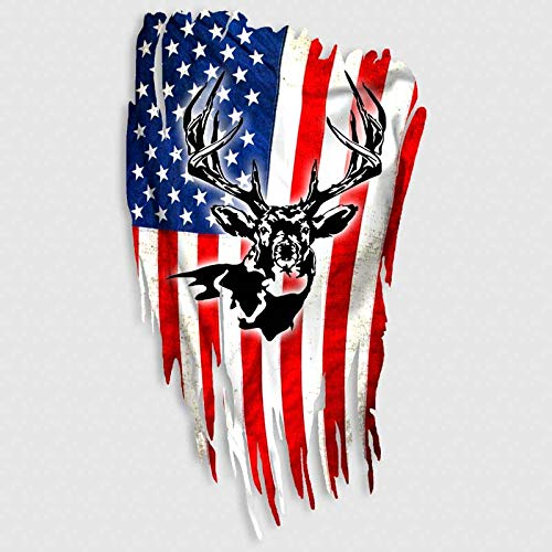 Deer Hunting American Flag Decal Distressed USA Sticker