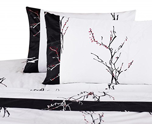 Sheet Set QUEEN Size Magic Branches 300 Thread Count White Black Red Cherry Blossoms 100% Cotton By Cozy Beddings
