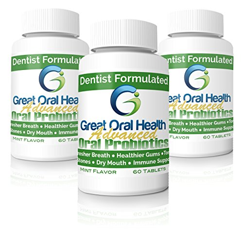 Patented Dental Oral Probiotics from a Top Holistic Dentist-Great Value Per Bottle with 60 tablets. Tackle BAD BREATH, Gum Disease, Strep Throat & Tooth Decay. 3 Bottle Starter Kit ()