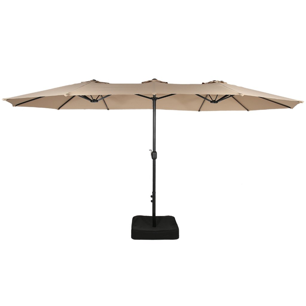 Iwicker 15 Ft Double-Sided Patio Umbrella Outdoor Market Umbrella with Crank, Umbrella Base Included Beige