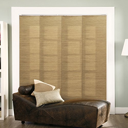 Chicology Adjustable Sliding Panels, Cut to Length Vertical Blinds, French Sandalwood (Natural Woven) - Up to 80