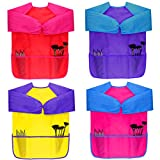 Dreampark Children Art Smock (4 Pack) Kids Art Aprons with Waterproof Long Sleeve 3 Roomy Pockets, Ages 2-6, Red, Yellow, Pimk and Blue (Paints and Brushes not included)
