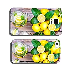 Water with lemon and mint in glasses and jug.Healthy drink,detox cell phone cover case iPhone6