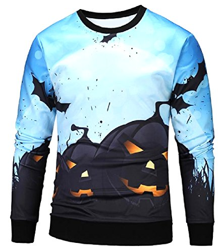 Creative Cute Halloween Costumes College (Abetteric Men Juniors Western Halloween Costume Creative Sweatshirts Blue L)