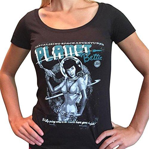 Bettie Page Planet Bettie Women's Tee Shirt Black - Bettie Planet