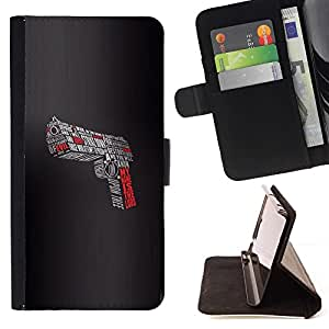 Momo Phone Case / Flip Funda de Cuero Case Cover - Pistola Se?or Evil Devil Shoot Lucha Slogan - LG G3