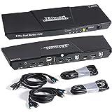 TESmart DisplayPort + HDMI 2x2 Dual Monitor KVM Switch | 4K@60Hz | Mechanical & Multimedia Keyboards | USB 2.0 Devices | Audio Output | 2 Port Updated KVM Switch (Black)