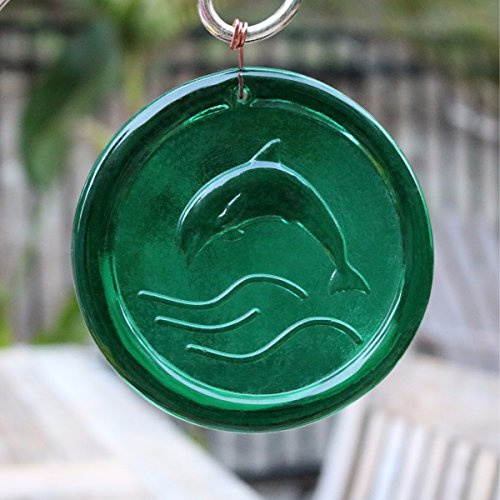 4-Inch Leaping Dolphin Suncatcher In Green from our Beach Collection - A Stunning Window Ornament And Gift From Mission Glass Works - Pressed from Carved Steel Dies Made in the USA