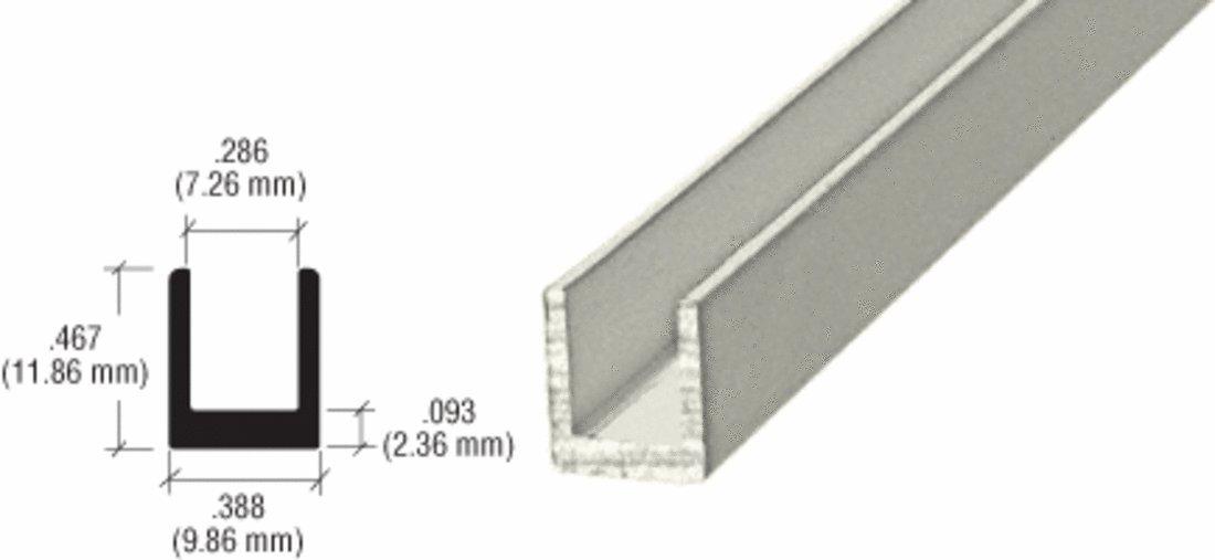 CRL Satin Anodized 1/4'' Single Aluminum Channel - 12 Ft Long