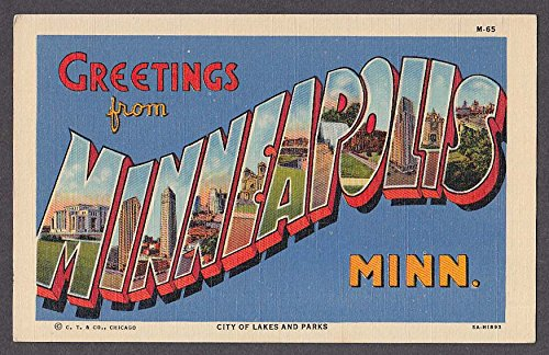 Greetings from MINNEAPOLIS MN large letter postcard 1940s Curt Teich 5A-H1893