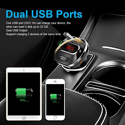 FM Transmitter Bluetooth 4.1 for Car, Wireless Radio Transmitter Adapter with USB Port, Music Player Support AUX Output, TF Card and U-Disk, Hands Free for iPhone, Smartphones