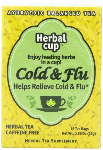 Herbal Cup Herbal Tea, Helps Relieve Cold and Flu, Contains 16 Tea Bags