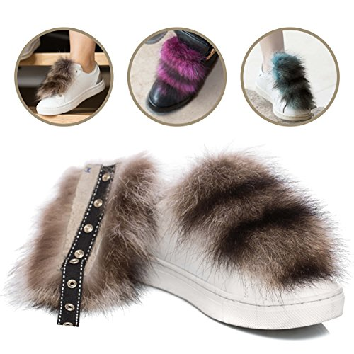 - Fratelli Sagray Italian Fur Shoelace Covers Dress up Shoes 100% Raccoon Fur Shoe Accessories for Womens, Girls, and Mens Shoes – Trendy Fur Pom Poms for Shoe Clip Inserts by (S, Black)