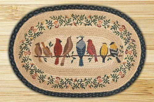 Earth Rugs Birds on a Wire Design Oval Rug, 20 by 30 , Braided, Charcoal Natural